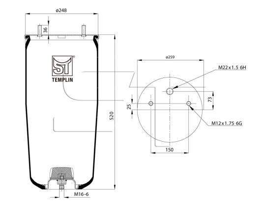 Luftfederbalg passend für BPW 30 / 941MB  ohne Federglocke