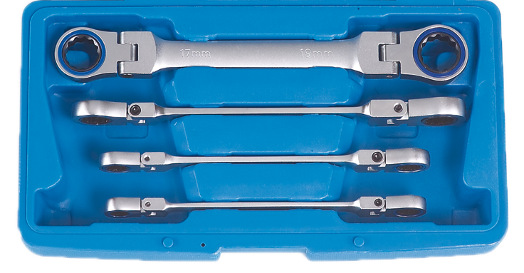 Doppelring-Ratschenschlüsselsatz 10-19 mm mit Gelenk 4-teilig
