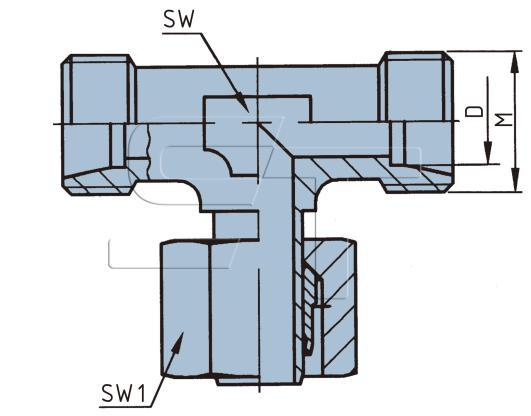 T- Verschraubung für 10 mm Rohr, mittig einstellbar
