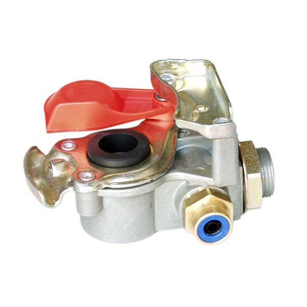 Kupplungskopf rot SV 8x1 mit Filter und Prüfanschluss für Sattelauflieger