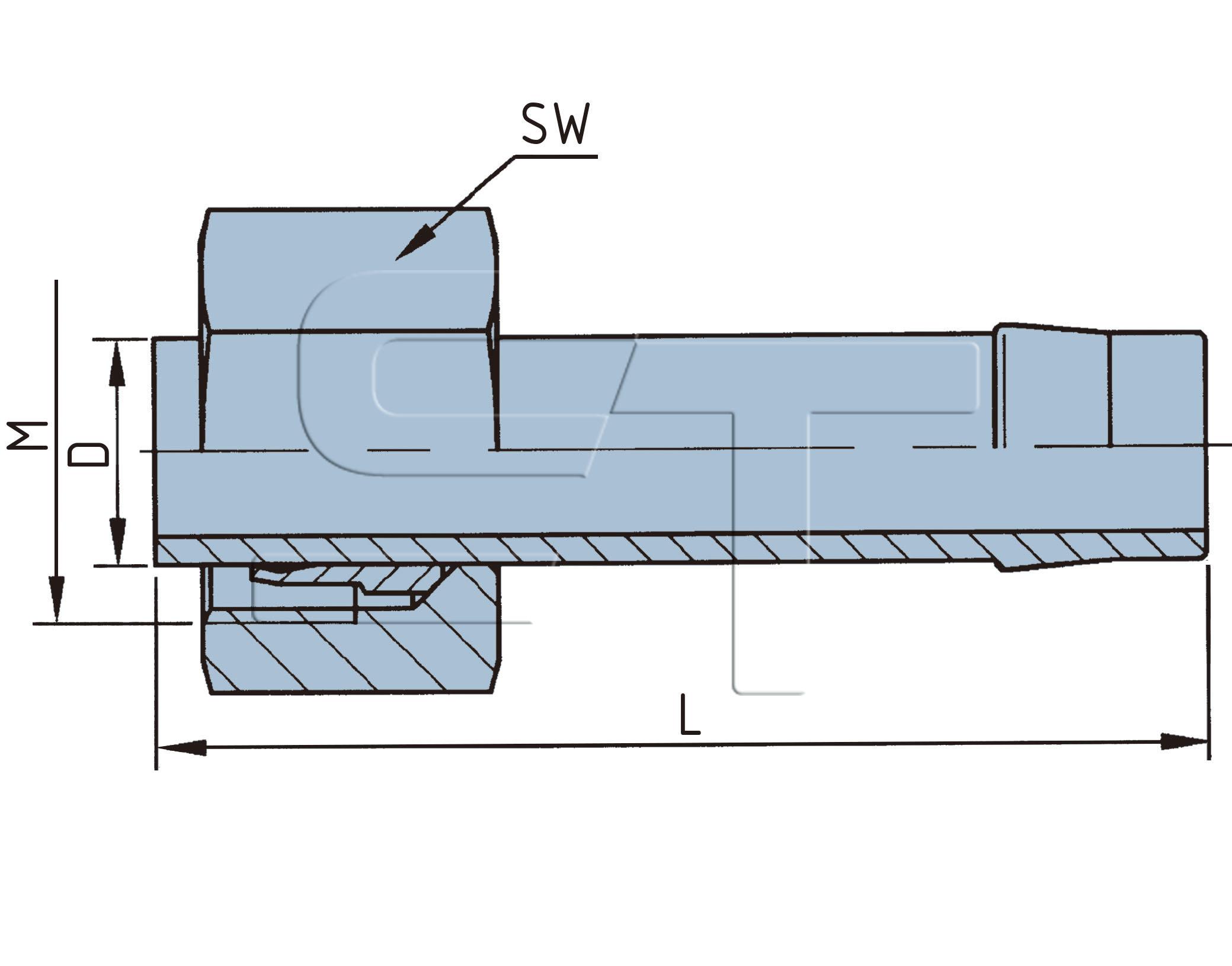 Schlauchstutzen mit Überwurfmutter M18 x 1,5