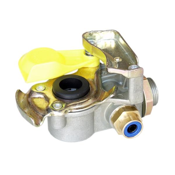Kupplungskopf gelb SV 8x1 mit Filter und Prüfanschluss für Sattelauflieger