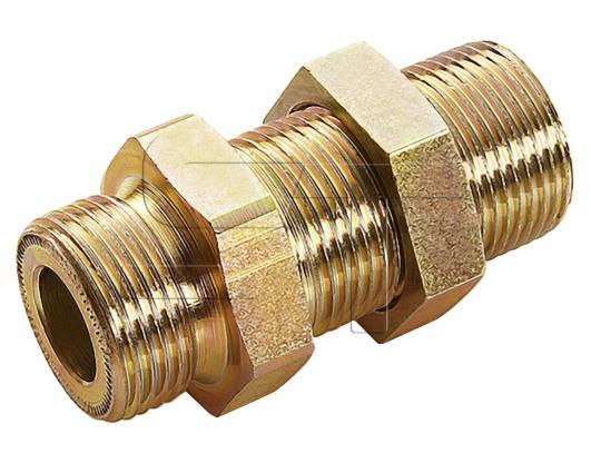 Schott- Doppelstutzen mit Gegenmutter M22 x1,5 auf  M22x1,5