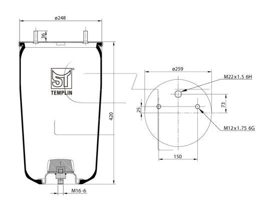 Luftfederbalg passend für BPW 30 K / 940MB ohne Federglocke