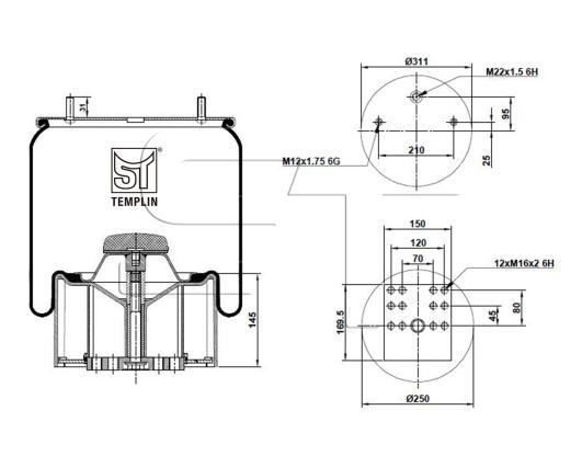 Luftfederbalg passend für BPW 36K / 4881MB