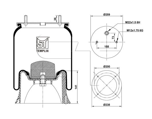 Luftfederbalg passend für SAF 2618 V