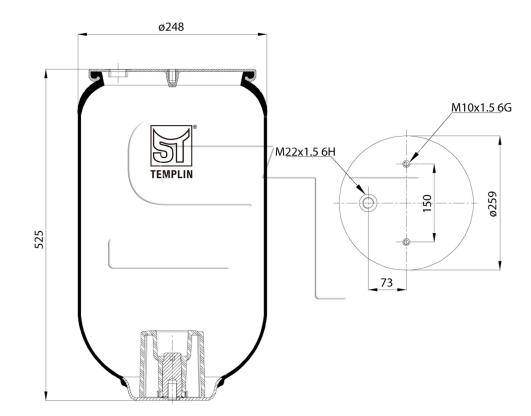 Luftfederbalg passend für Schmitz-Cargobull 1T15MPW9 ohne Federglocke