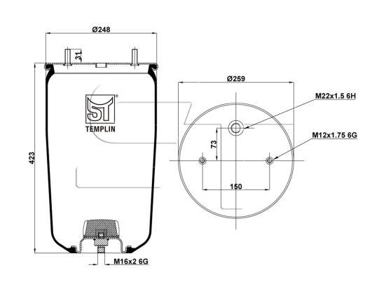 Luftfederbalg passend für BPW 30 K / 4961NP02 ohne Federglocke