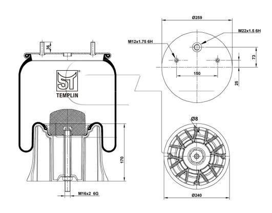 Luftfederbalg passend für SAF 2621 V