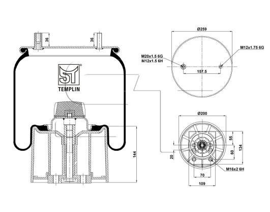 Luftfederbalg passend für BPW 30 K / 4960NP03