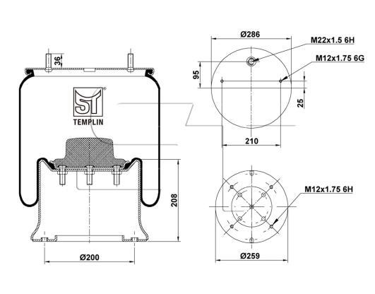 Luftfederbalg passend für SAF 2926 V