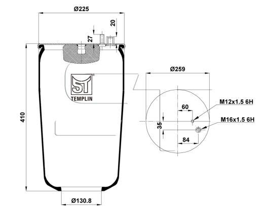 Luftfederbalg passend für MAN L2000 ohne Abrollkolben