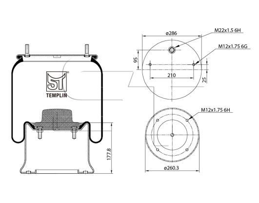 Luftfederbalg passend für SAF 2923 V