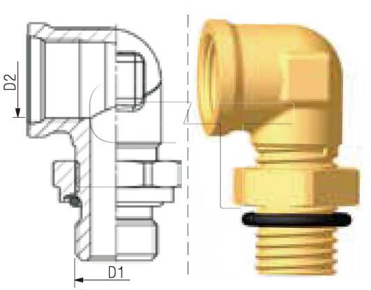 Winkelstück M22 x 1,5 auf Innengewinde M16 x 1,5