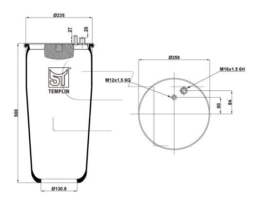 Luftfederbalg passend für MAN TGA/TGS ohne Abrollkolben