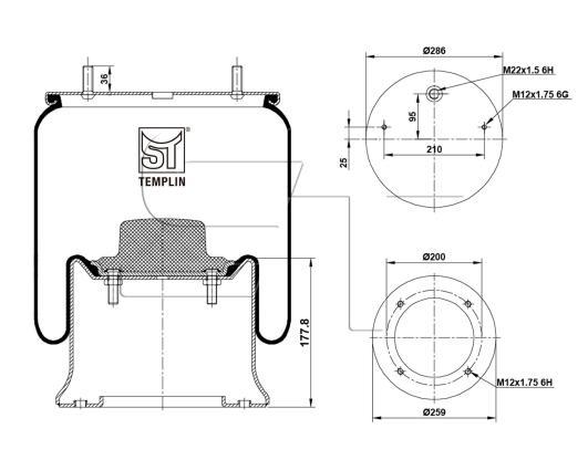 Luftfederbalg passend für Schmitz-Cargobull 1T19L-12