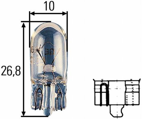 Glühlampe Glassockel  24 Volt / 3 Watt W2,1x9,5d