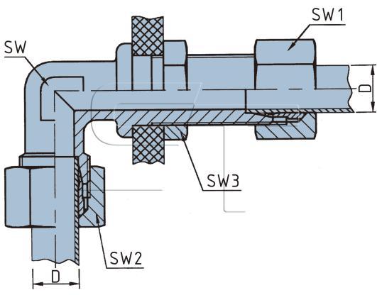 Winkel-Durchgangs - Schott - Verschraubung M12 x 1,5 auf  6 mm Rohr