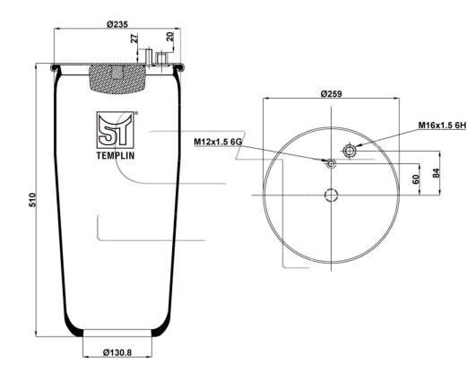 Luftfederbalg passend für MAN TGA/TGX/TGS  ohne Abrollkolben