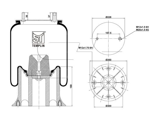 Luftfederbalg passend für Fruehauf 1T15M9