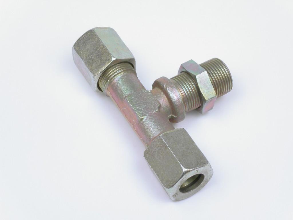 T- Verschraubung für 15 mm Rohr, mittig M22x 1,5 einschraubbar