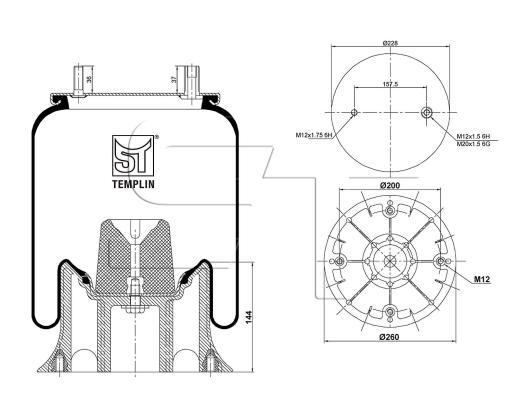 Luftfederbalg passend für Fruehauf 1T15M6 Stahlkolben