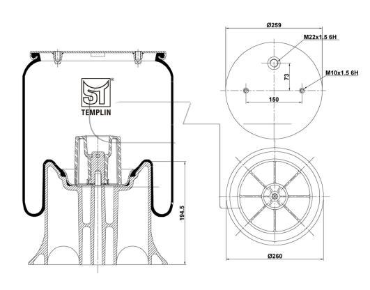 Luftfederbalg passend für Schmitz-Cargobull 1T15MPW9
