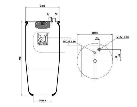 Luftfederbalg passend für MAN TGA/TGS/TGX ohne Abrollkolben