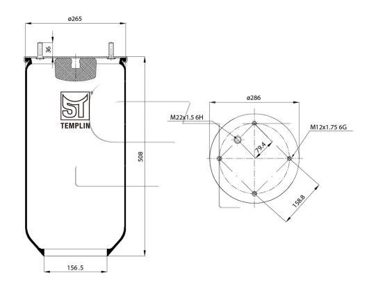 Luftfederbalg passend für SAF 1T19-E2 ohne Stahlkolben