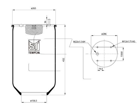 Luftfederbalg passend für SAF 1T19-E1 ohne Stahlkolben
