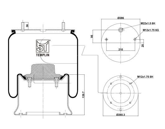 Luftfederbalg passend für SAF 2918 V