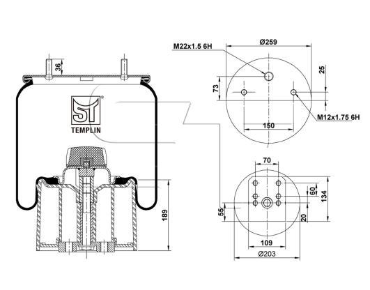 Luftfederbalg passend für BPW 30 / 941MB