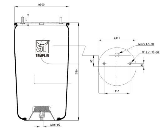 Luftfederbalg passend für BPW 36 / 881MB ohne Federglocke