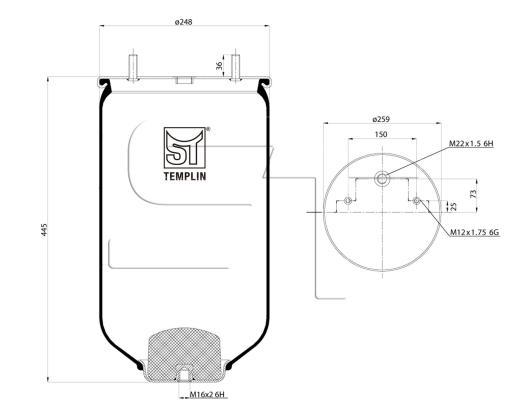 Luftfederbalg passend für SAF 2618 V ohne Kunststoffkolben