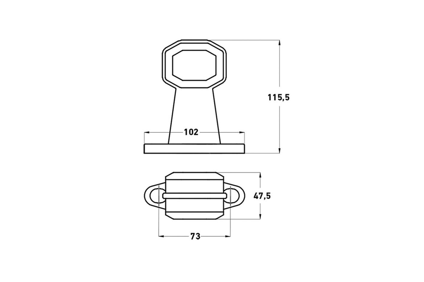 LED Begrenzungsleuchte 24V  Anbau links / rechts kurze Version