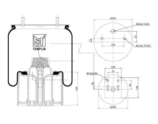 Luftfederbalg passend für BPW 30 K / 940MB