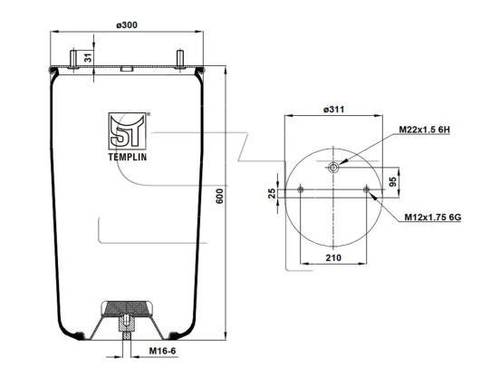 Luftfederbalg passend für BPW 36-1 / 942MB ohne Federglocke