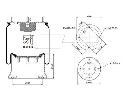 Luftfederbalg passend für SAF 1T19-E1