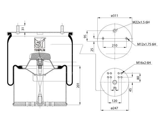 Luftfederbalg passend für BPW 36-1/942MB