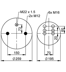 Luftfederbalg passend für BPW 30 K / 4961NP03