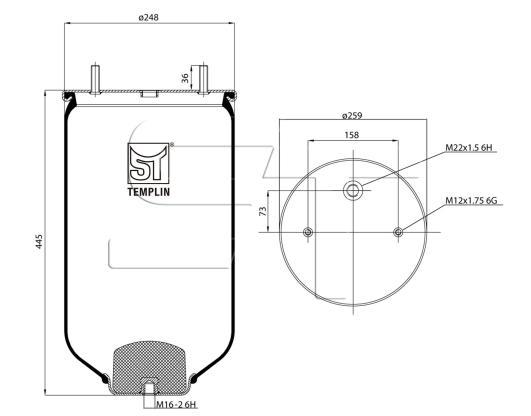 Luftfederbalg passend für SAF 2618 ohne Federglocke