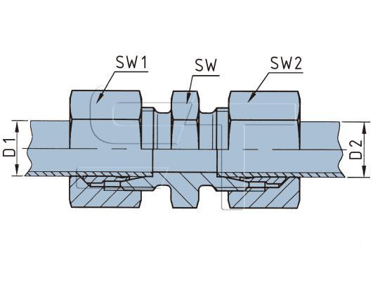 Gerade Durchgangsverschraubung 8 auf 10 mm Rohr