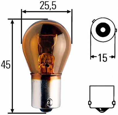 Glühlampe 24 Volt / 21 Watt BAU 15s  Amber für klare Blinkleuchten