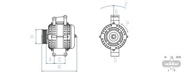 Lichtmaschine 28V / 55A passend für MAN E200 / F2000 / L2000 / TGA