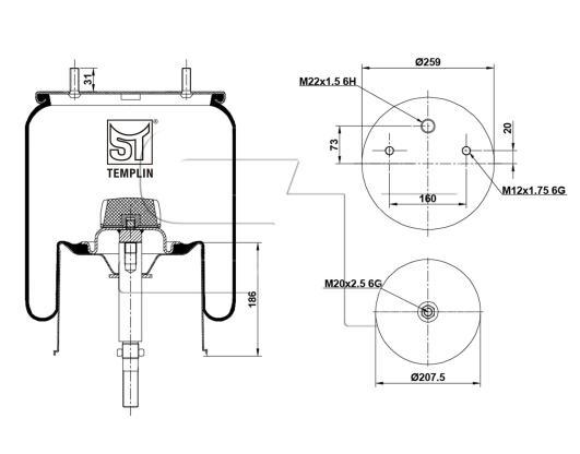 Luftfederbalg passend für Gigant 3053 Zentralbolzen