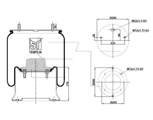 Luftfederbalg passend für SAF 2922 V