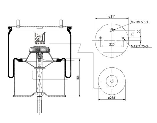 Luftfederbalg passend für Gigant 3653 Zentralbolzen
