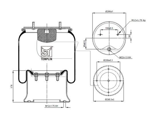 Luftfederbalg passend für Schmitz-Cargobull 1D28F-5