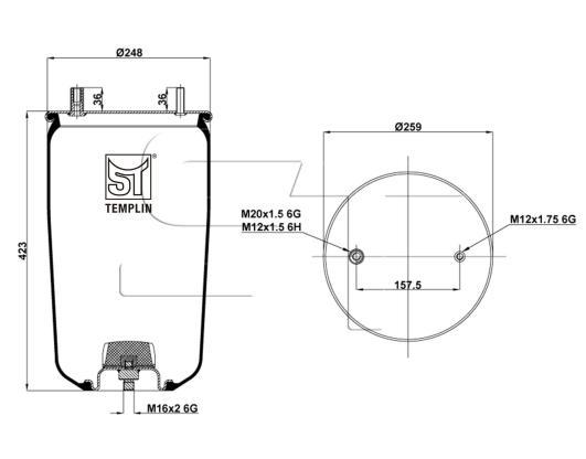 Luftfederbalg passend für BPW 30 K / 4960NP02 ohne Federglocke
