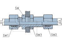 Schottverschraubung Durchgang für 12 x 1,5 Kunststoffrohr